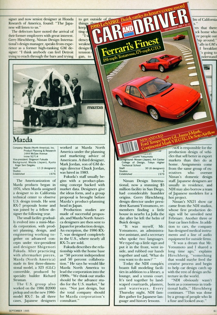 Copy of CAR AND DRIVER SEPT 85